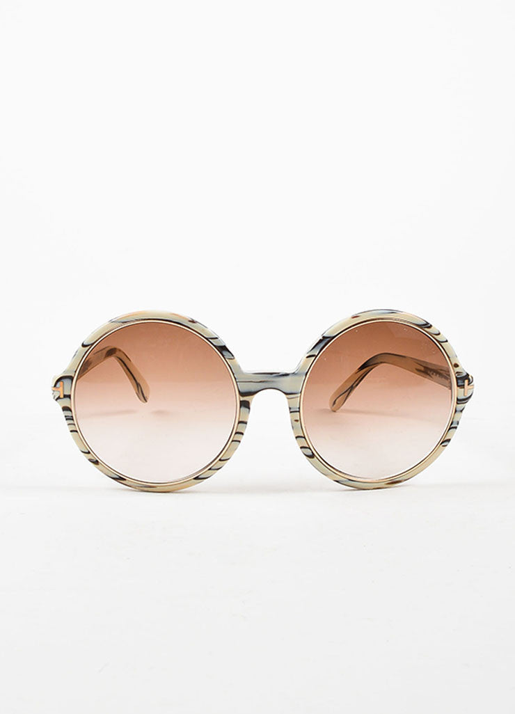 "Tom Ford Cream, Brown, and Grey Marbleized Round ""Carrie"" Sunglasses Frontview"
