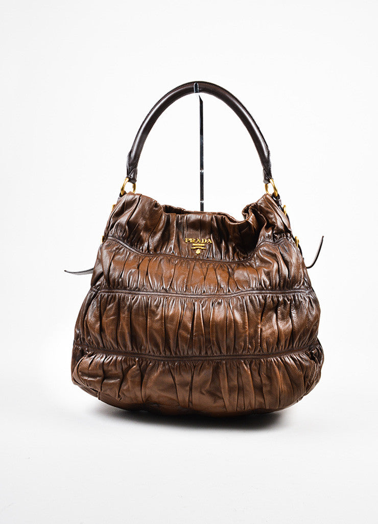 "Prada Brown Distressed Nappa ""Gaufre"" Leather ""Sacca"" Hobo Shoulder Bag Frontview"