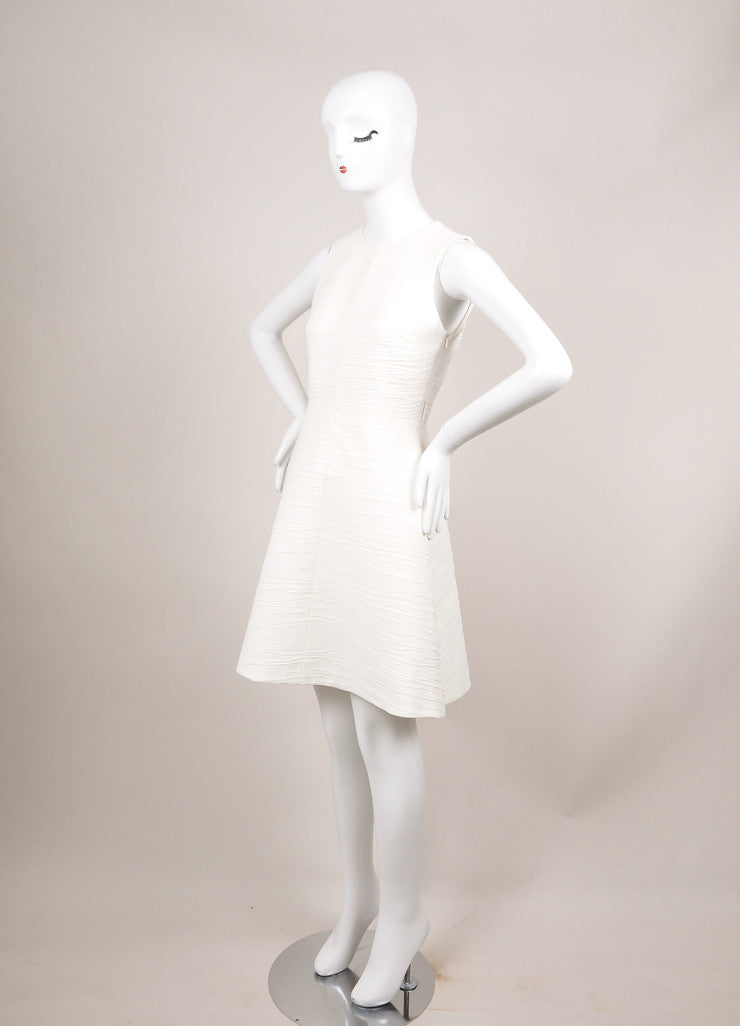 Proenza Schouler Cream Textured Crepe Sleeveless Flared Dress Sideview