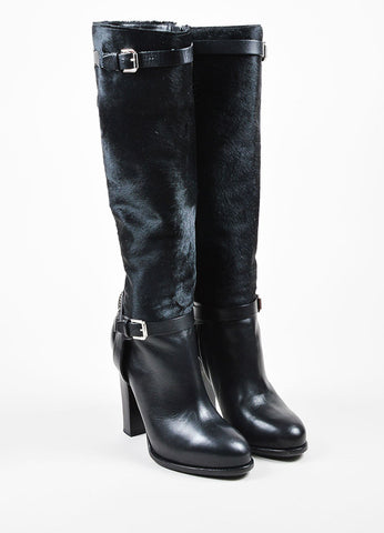 Ralph Lauren Collection Black Pony Hair Leather Heeled Knee High Boots Frontview