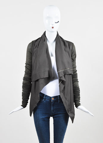 Rick Owens Green Silk Extra Long Sleeve Zipped Jacket Frontview