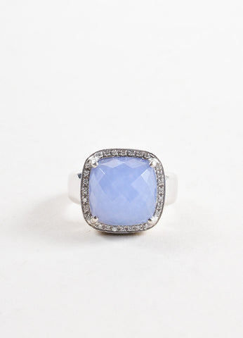 Rina Limor 18K White Gold and Blue Chalcedony Crystal Diamond Cocktail Ring Frontview