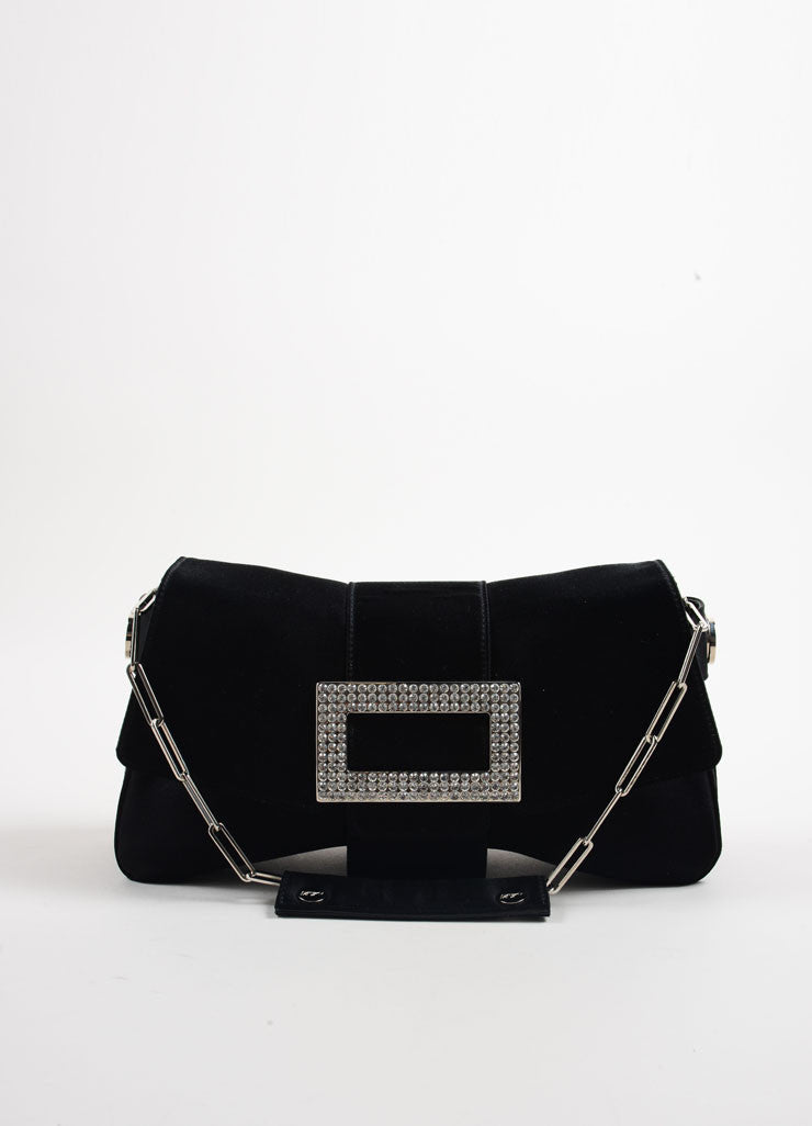 Roger Vivier Black Satin Rhinestone Buckle Chain Strap Bag Frontview