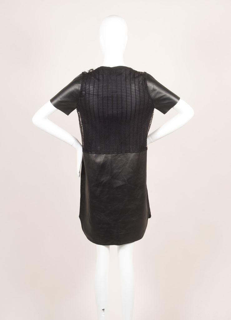 Salvatore Ferragamo Black Leather Netted Panel Short Sleeve Dress Backview