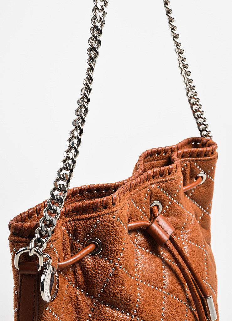 Stella McCartney Cognac Vegan Leather Studded Quilted Mini Bucket Bag Detail 2