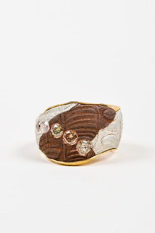 22K Yellow Gold Susanne Dunne Mokume-Gane Diamond Wide Ring Frontview