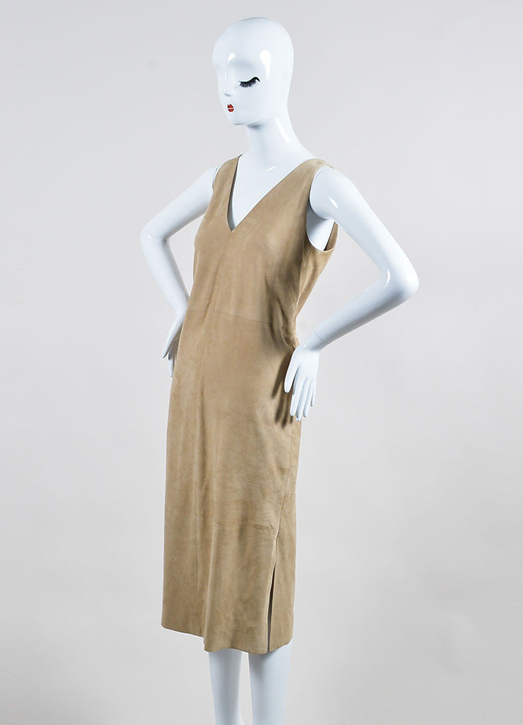 "The Row Beige Suede V-Neck ""Rahool"" Sleeveless Shift Dress Sideview"