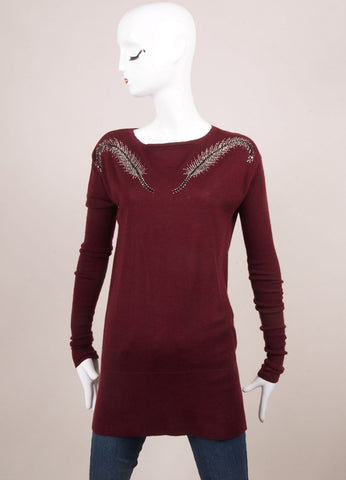 "Thomas Wylde New With Tags Red Cashmere Sequin ""Fly Away"" Tunic Sweater Frontview"