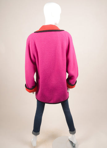 Bob Mackie Fuchsia Fuzzy Jacket Backview