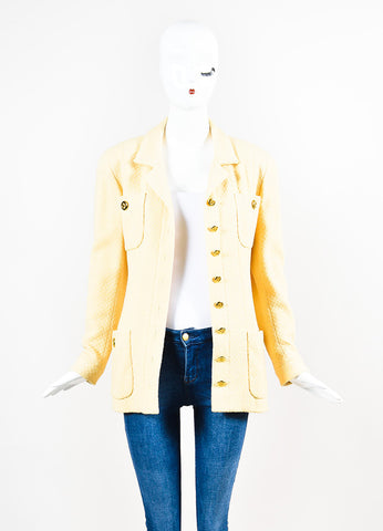 Chanel Yellow and Gold Toned Boucle 'CC' Button Long Jacket Frontview