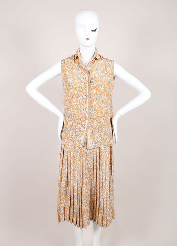 Chanel Peach Floral Print Pleated Skirt And Sleeveless Blouse Set Frontview