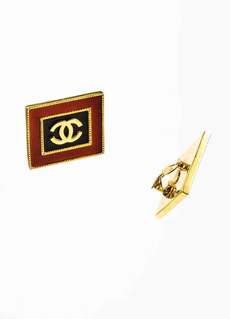Gold Toned, Red, and Black Leather Chanel 'CC' Square Clip On Earrings Sideview