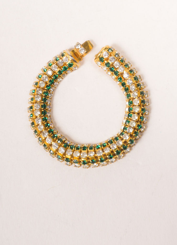 DeLillo Gold Toned and Green Rhinestone Bracelet Backview