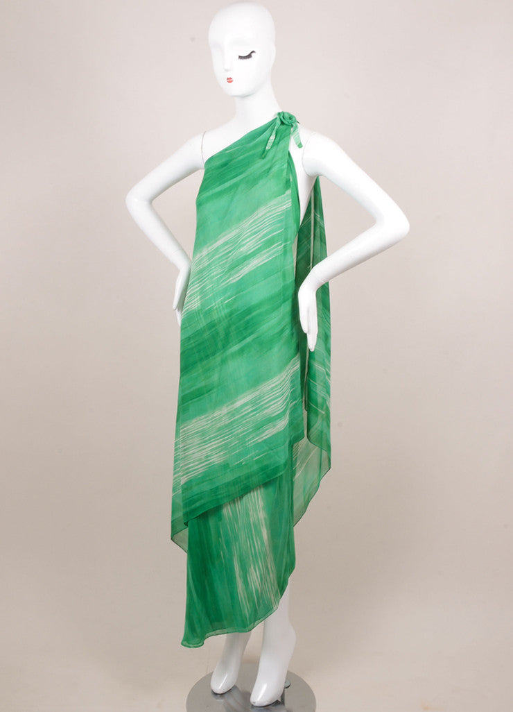 Halston Green and White Watercolor Striped One Shoulder Draped Dress Sideview