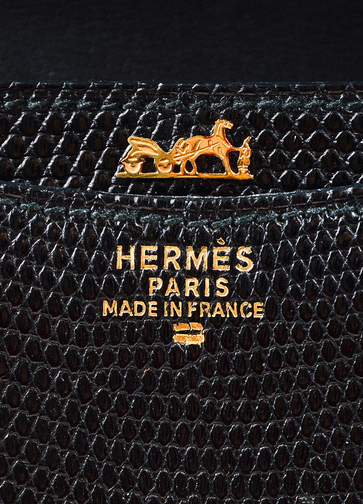 "Hermes Black Lizard Gold Toned Metal Chain ""Alcazar"" Shoulder Bag Brand"