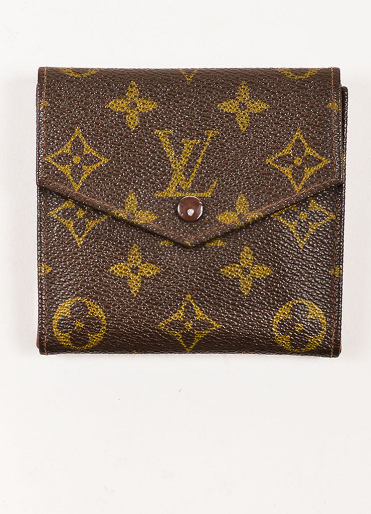 Louis Vuitton Brown Coated Canvas Monogram Snap Billfold Wallet Frontview