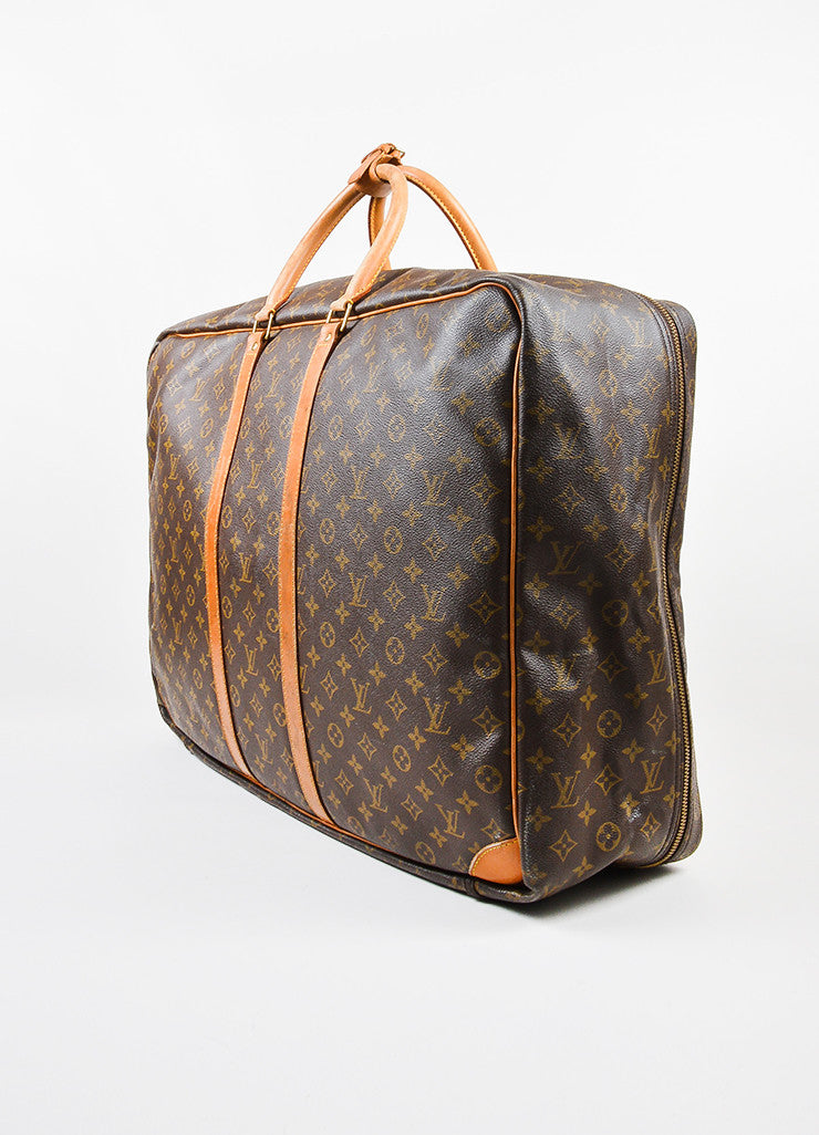 "Louis Vuitton Brown and Tan Canvas and Leather Monogram ""Sirius 60"" Suitcase Sideview"