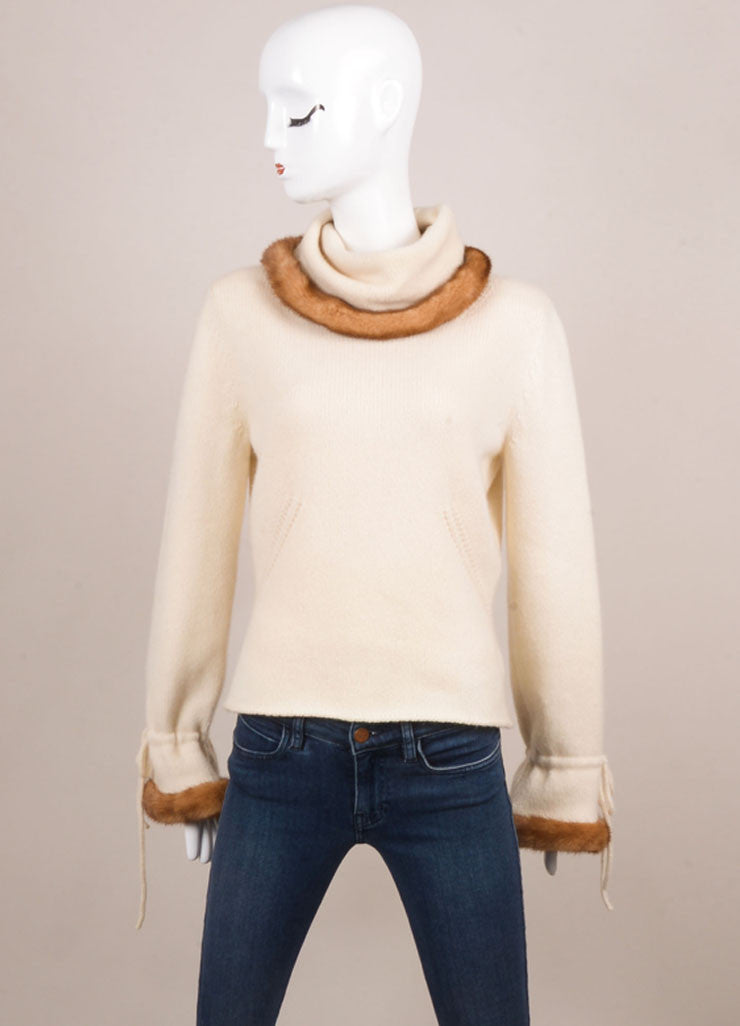Valentino Cream Cashmere and Mink Trimmed Pull Over Sweater Frontview