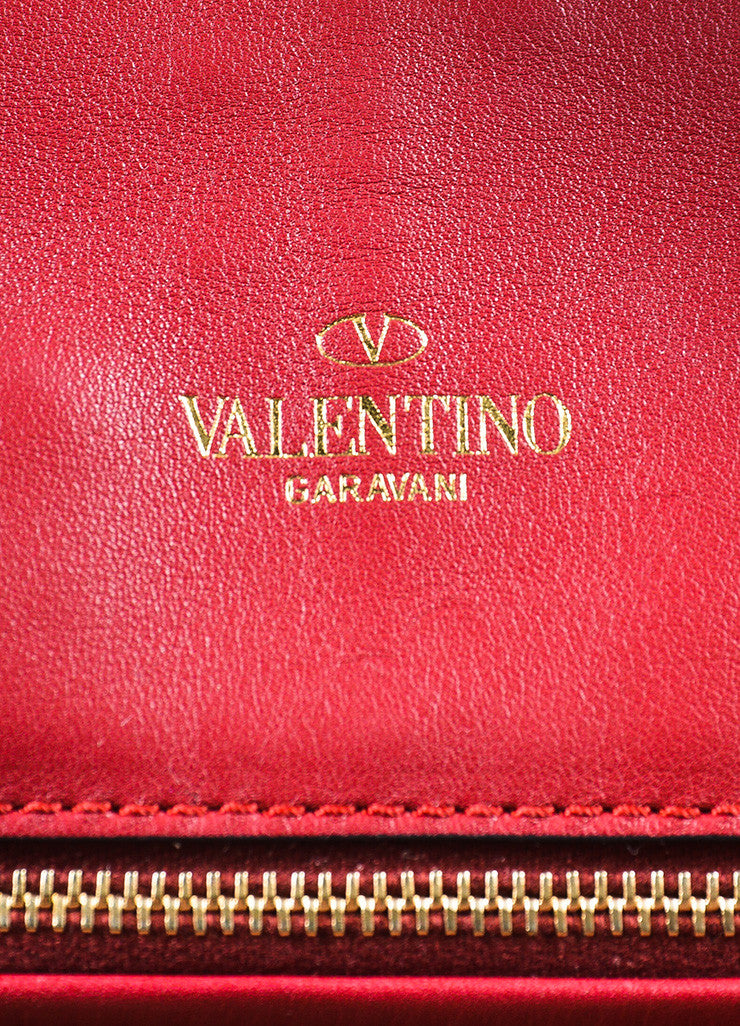 "Valentino Garavani Red Leather ""My Own Code"" ""MOC"" Accordion Clutch Brand"