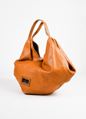 "Valentino Garavani Tan Leather Oversized Stitching Bow Detail ""360"" Shoulder Bag front"