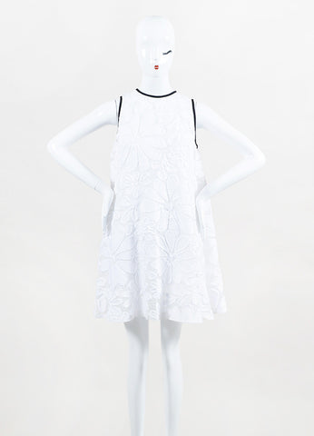 White VICTORIA Victoria Beckham Jacquard Pleated Tent Dress Front 2