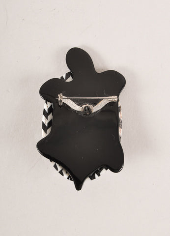 Lea Stein Black and White Acetate Turtle Brooch Backview