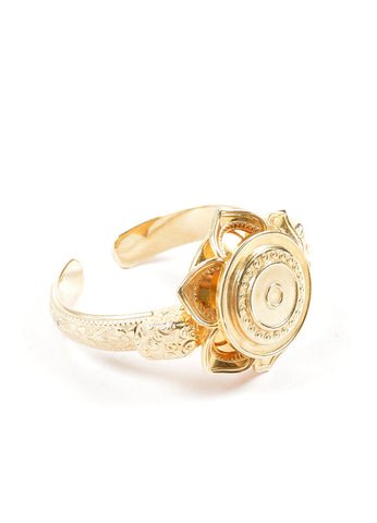 Whiting and Davis Gold Toned Flower Etched Cuff Bracelet Sideview
