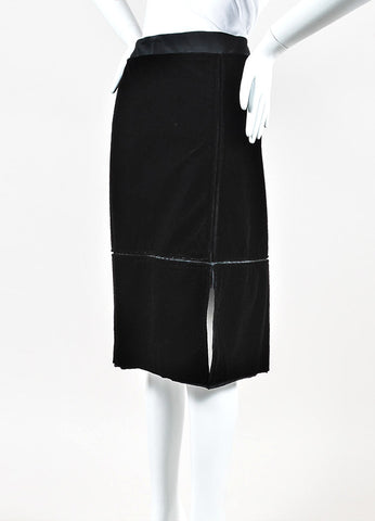 Yves Saint Laurent Black Satin Velvet Paneled Knee Length Pencil Skirt Side
