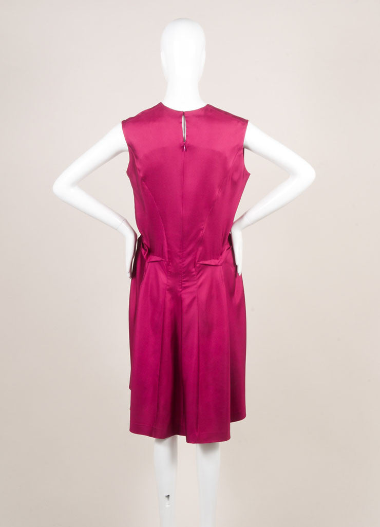 Yves Saint Laurent Magenta Sleeveless Puckered Waist Silk Dress Backview
