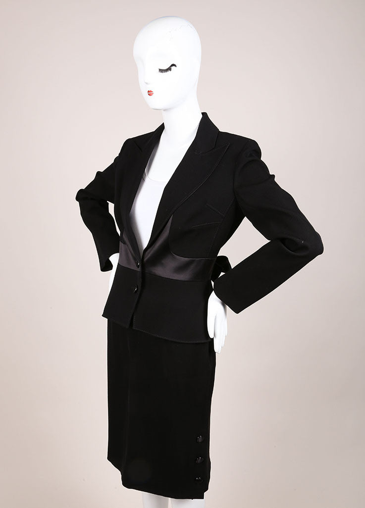 Valentino Black Wool and Silk Bow Embellished Skirt Suit Sideview
