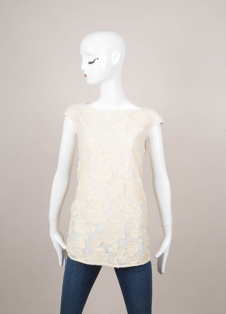 Cream Sonia Speciale Floral Applique Detail Cap Sleeve Cotton Tunic