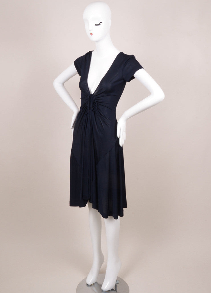 Rochas New With Tags Navy Sheer Ruched Deep V Dress Sideview