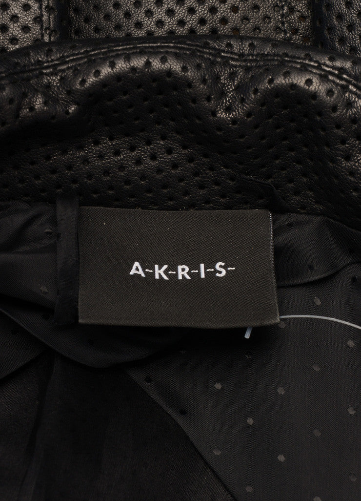 Akris Black Perforated Leather Long Sleeve Open Front Collared Jacket Brand