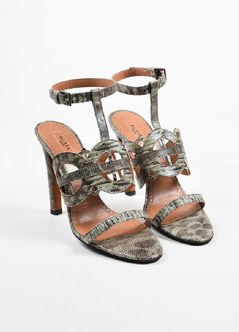 Grey Alaia Lizard Leather Cut Out Sandal Heels Frontview