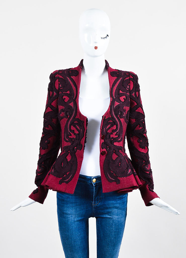 Maroon Wool Alexander McQueen Brocade Embroidered Peplum Jacket Frontview