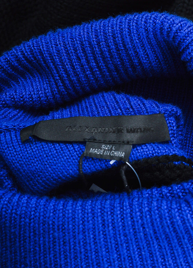 "Black and Cobalt Alexander Wang Wool Turtlenck ""Splittable"" Sweater Dress Brand"