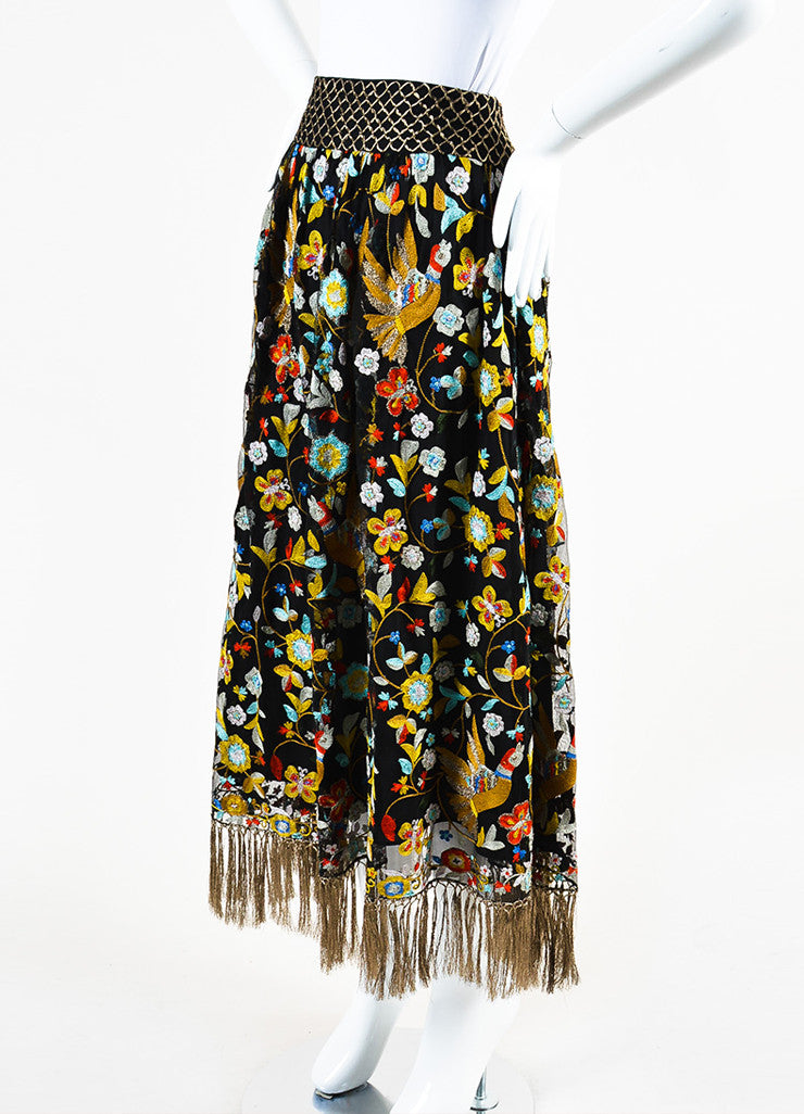 Alice + Olivia Black and Multicolor Mesh Floral Embroidered Tassel Skirt Sideview