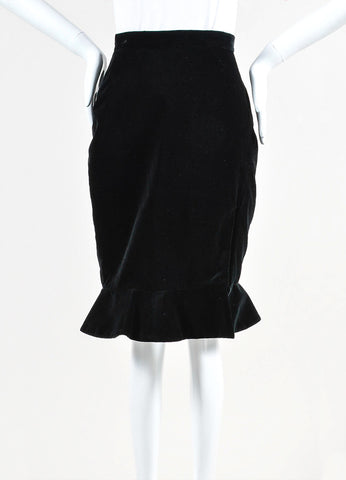 Altuzarra Black Velvet 'Mona' Front Slit Fluted Pencil Skirt Front