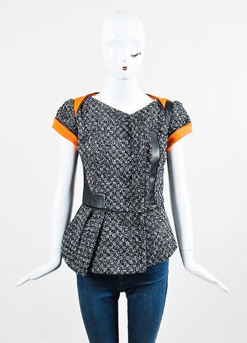 Antonio Berardi Black, White, and Orange Cotton and Faux Leather Cinched Short Sleeve Jacket Frontview 2