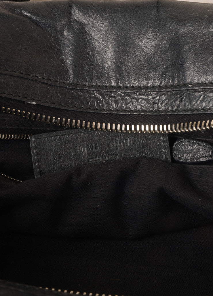 "Balenciaga Black Crinkle Leather Studded ""Arena Work"" Bag Serial"
