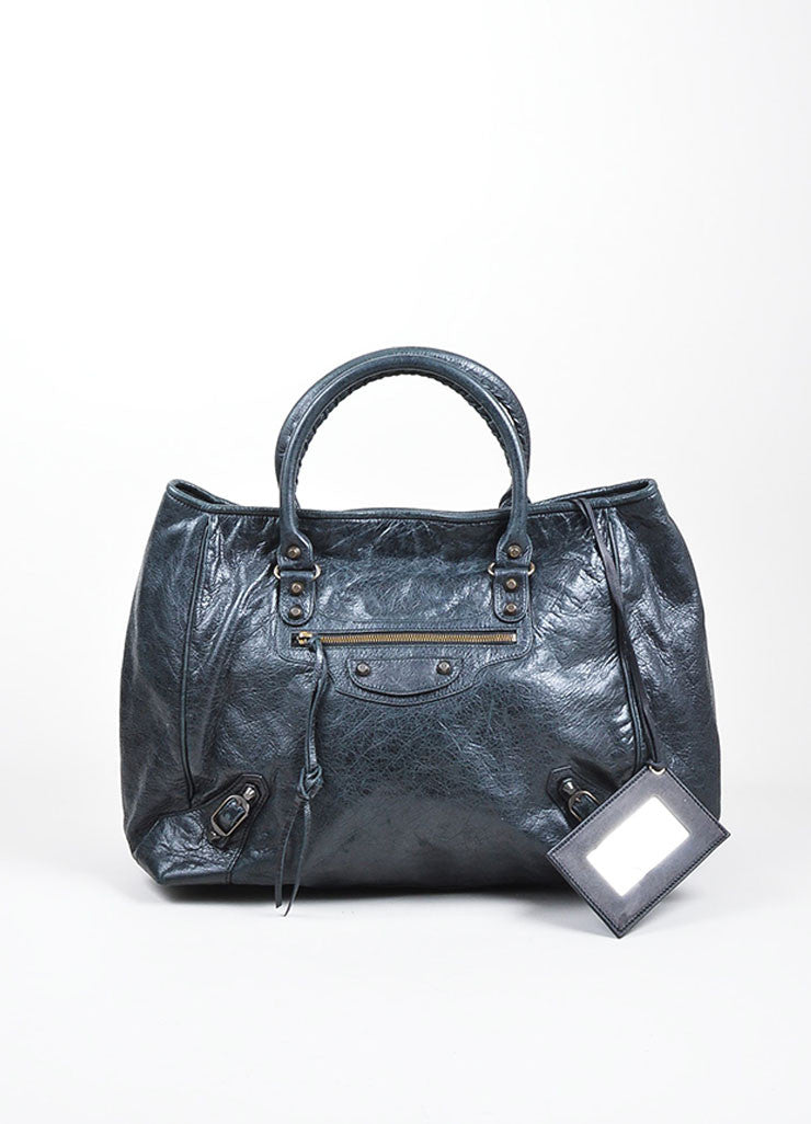 "Black Balenciaga Distressed Leather ""Sunday"" Oversized Tote Bag Frontview"