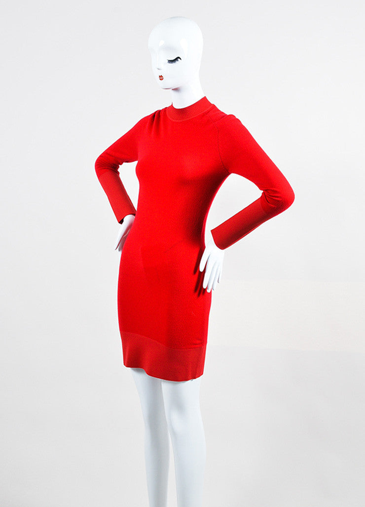 Balenciaga Lipstick Red Cashmere Long Sleeve Sweater Dress Sideview