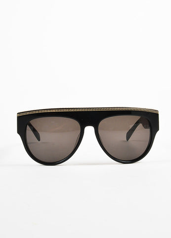 Balmain Black, Grey, and Gold Toned Chain Detailed Dark Tinted Shield Sunglasses Frontview