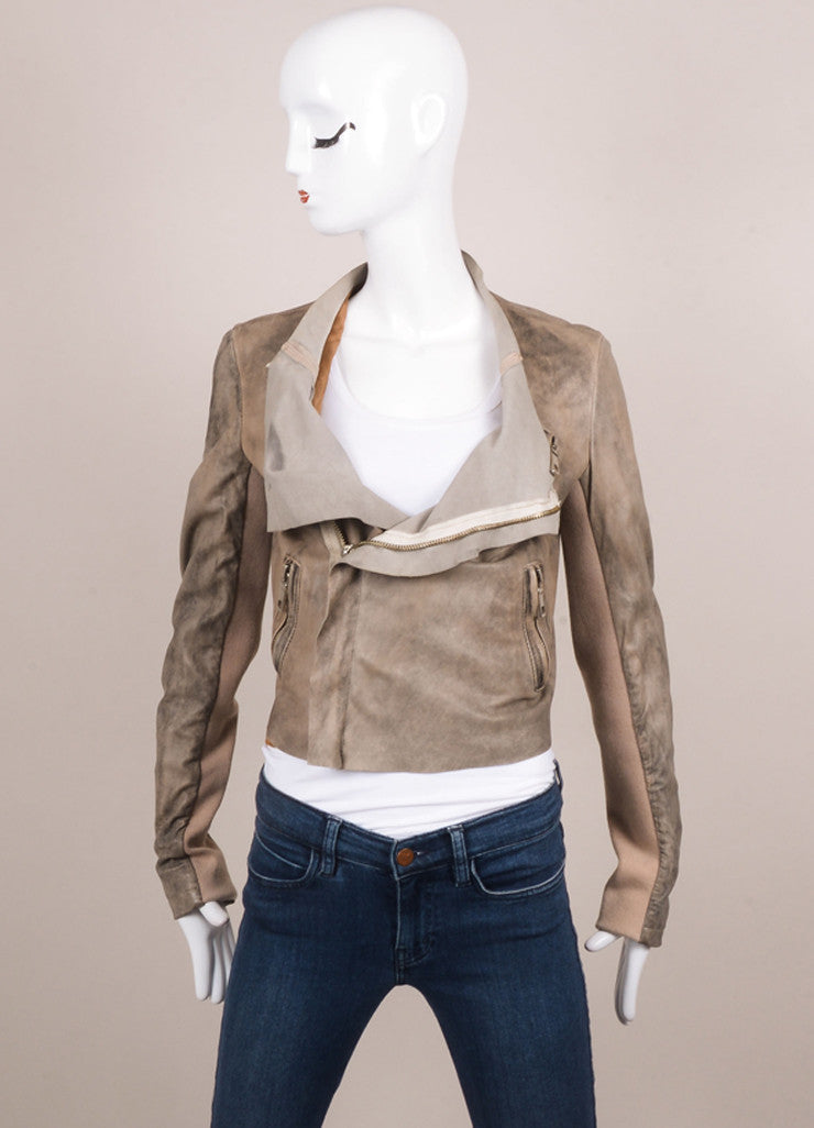 Blur Taupe and Brown Distressed Leather Long Sleeve Crop Moto Jacket Frontview Closed