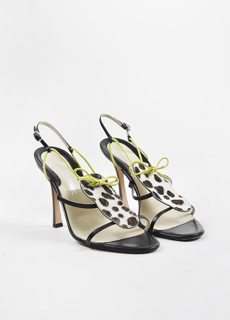 Brian Atwood Brown, Cream, and Green Pony Hair Spotted Strappy Sandals Frontview