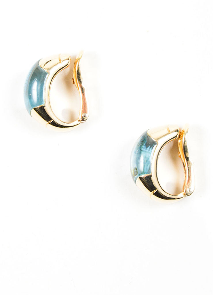 18K Yellow Gold and Blue Topaz Bulgari Clip On Huggie Earrings Sideview