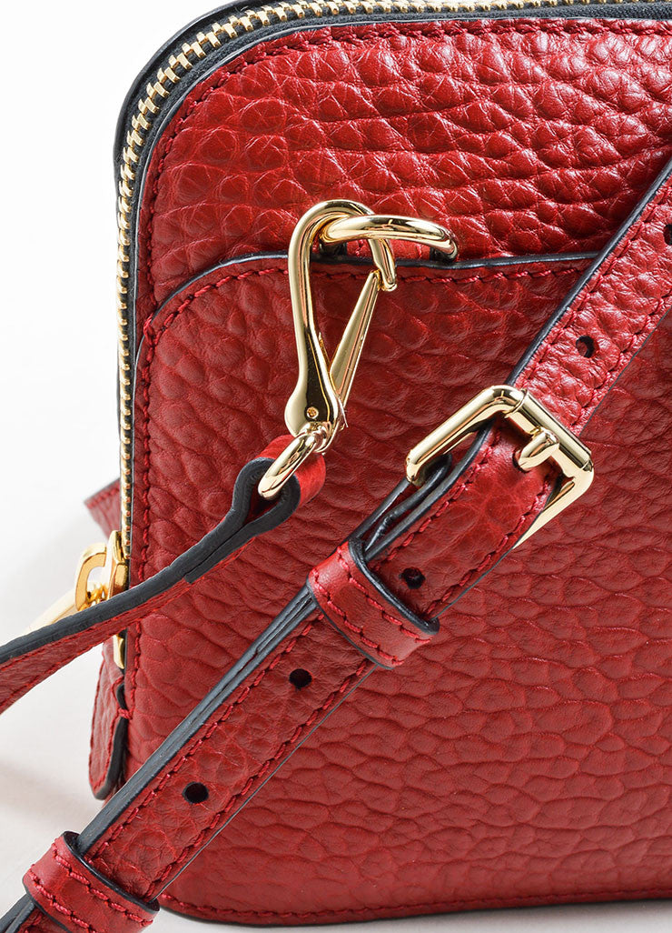 "Burberry ""Military Red"" Leather Heritage Grain Small Harrogate Cross Body Bag Detail 2"