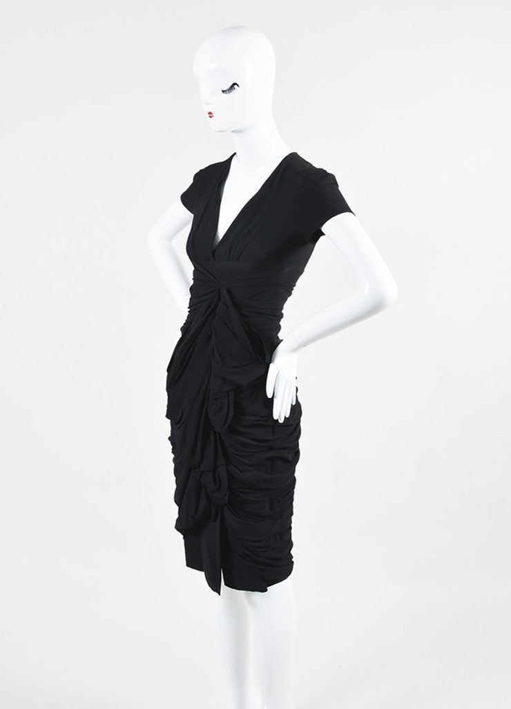 Black Burberry Prorsum Silk Ruffled Gathered Short Sleeve Dress Sideview