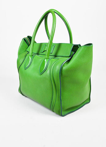 "Celine Green Leather Gold Toned Zip ""Mini Luggage Tote"" Bag Sideview"