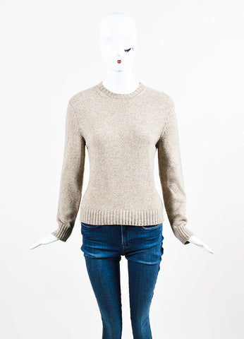 Celine Taupe and Black Wool Leather Elbow Patch Pullover Sweater Frontview